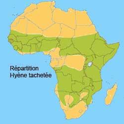 Répartition géographique de la hyene tachetée