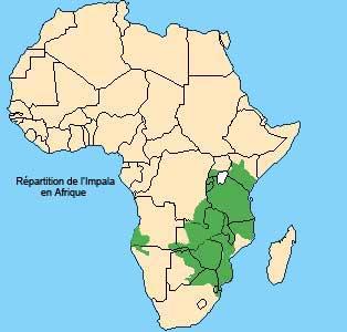 repartition du Impala en Afrique