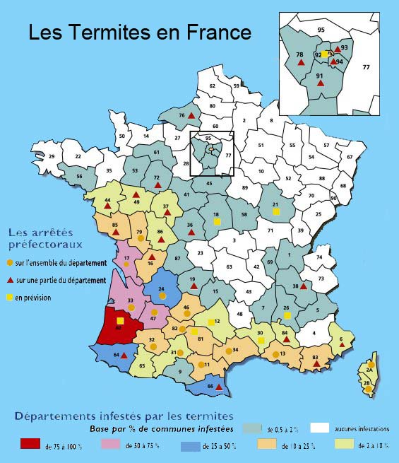 repartition des termites en france